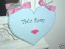 SHABBY CHIC * PERSONALISED Bedroom Door Sign * Girls