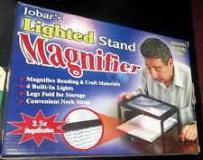 JOBARS LIGHTED MAGNIFIER STAND 3X5 MAGNIFICATION BUILT IN LIGHTS FOLDING LEGS