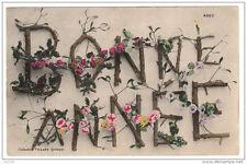 BONNE ANNEE lettres alphabet fleurs branches branchage - voyagé 1907