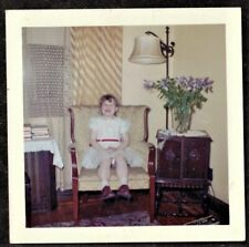 Vintage Photograph Little Girl Sitting in Chair in Retro Living Room
