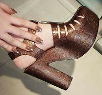 Melissa Aranha Heel 7916 Bronze Glitter Platform Heels Women's Discontinued