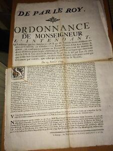 LIMOGES:Cartel 1759 Acerca de Rectos concesión de licencias Para El Gros Madera.