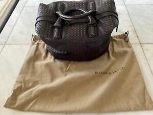 NEW! Bottega Veneta Duffle Bag Brown Intrecciato Leather