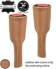 BEIGE REAL LEATHER 2X SEAT BELT STALK TALL COVERS FOR MAZDA MX5 MK4 2015-2020