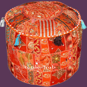 New Indian Vintage Pouf Cover Ottoman Handmade Cotton Patchwork Floor Sofa Throw