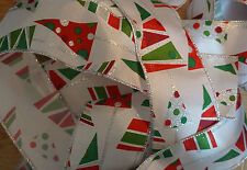 1m Wire Edged Christmas Ribbon. White With Colourful Xmas Tree Design