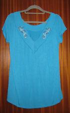 Hängerchen Shirt T-Shirt Gr. M Türkis Strass Seepferdchen