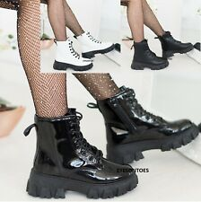 LADIES WOMENS CHUNKY BLOCK SOLE LACE UP ANKLE BOOTS ZIP ICON RETRO PUNK GOTH
