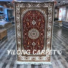 Yilong 3'x5' Red Handmade Persian Silk Carpet Traditional Area Rug Online Y452C