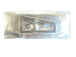 Thierry Mugler Large Silver Metallic Fold-Over Star Clutch Purse Satin Interior