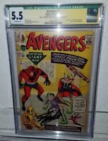 AVENGERS #2 CGC 5.5 Signature Qualified Grade Stan Lee signed miss p 1963 MARVEL