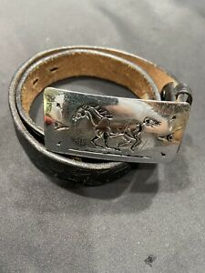 Vtg Sears by Chambers LeatherBelt Co-Youth-Sz L(22-24)-Black/Silver Horse Buckle