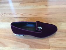 StudioLee Velvet Women Loafer Wine with Zircon Grape Pattern