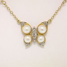 14K Yellow Gold Pearl & Diamond Butterfly on Pearl By the Yard Necklace Chain