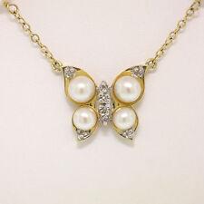 14k Perla Oro Amarillo & Diamante Mariposa En Perla por yardas COLLAR DE CADENA