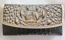 BRAHMIN Modern Checkbook Wallet Mercury Crescent Croc Leather Black Grey $235