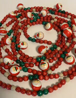 Vintage Strand Garland wood Bead Santa Hand Painted 13 Ft Christmas Decoration