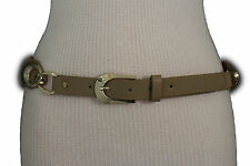 Women Fashion Belt Black Beige Faux Leather Gold Metal Buckle Hardware M L