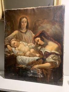 Magnifique tableau ancien à restaurer enfant huile sur toile classique