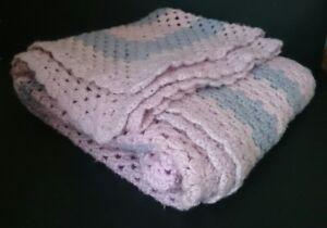 Vintage Handmade Crochet Baby Rug Wool Pink & Blue Blanket Square