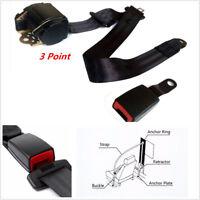 1Pcs Universal Retractable 3Point Auto Car Safety Seat Belt Iron Buckle Black