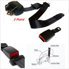 1Pcs Universal Retractable 3Point Auto Car Safety Seat Belt Iron Buckle Black