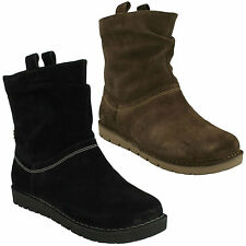 UN ASHBURN LADIES CLARKS UNSTRUCTURED PULL ON FLAT CASUAL WIDE FIT ANKLE BOOTS