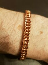 "Solid Copper Bracelet Hand-made Chainmail 4 in 1 Persian Weave 6.5"" Custom Fit"