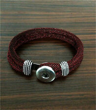 DIY Handmade Leather Bracelets Drill Fit For Noosa Snaps Chunk Charm Button Q05