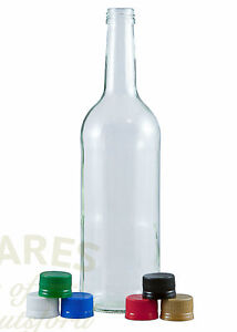 Glass Water Bottle, 1 Litre, Choice Of Caps, Packs 6-36, Juice, Cordials, New *