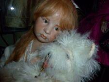 Lelia & Her Dog Wax Over Porcelain Doll By Hildegard Gunzel