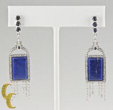 Badgley Mischka 18k White Gold Diamond, Iolite, Blue Lapis Earrings Great Gift!
