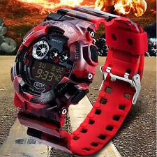 Stainless Steel  LED Digital Alarm Military Date Rubber Sport Watch Waterproof
