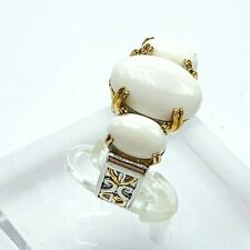 Gems en Vogue White Agate Crown Graduated 3-Stone Ring size 6.5