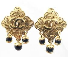 Chanel Vintage Gold Plated CC Argyle Black Stone Dangle Clip on Earrings