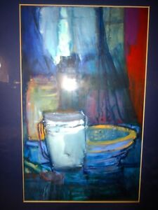 NEW ZEALAND Artist Framed Antony Warnes Abstract Still Life Painting Blue Tones