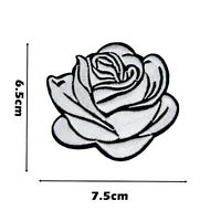 White Rose Flower Iron On Patch Patches Embroidered Badge Single Open Kids P332