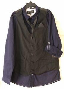 NWT Tranquility & Mayhem Mens 3pc Set Gray Vest, Light Red Shirt & Tie Size XXL