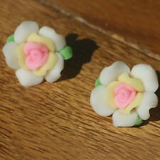 2 Perles FIMO POLYMÈRE - ROSE - Blanc/Rose - 11/20 mm