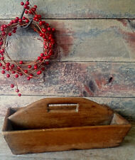 PRIMITIVE Rustic ANTIQUE Wooden Tool Carrier Cutlery Utensil TOTE Box Pine