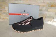 PRADA Gr 37 Slipper Wabe Slip On Mokassins Schuhe schwarz + rosa NEU UVP 470€