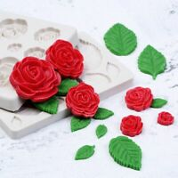 Decorating Tool Cake Mould Sugarcraft Silicone Mold Fondant Rose Flower 3D Leaf