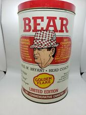 Bear Bryant Golden Flake Potato Chip Can Tin Container Alabama Football 1981 VTG