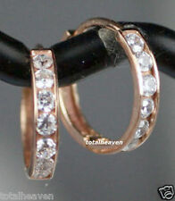 "0.55"" Solid 14K Pink Rose Gold AAA D-FL CZ Huggies Hoop Earrings 14mm SPARKLING"