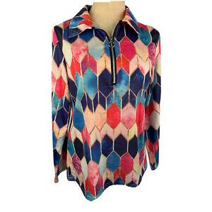 Medium Women's Stained Glass Activewear Long Sleeve Top 1/4 Zip