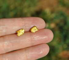 RAW NATURAL 20K - 23K SOLID GOLD NUGGET EARRINGS - STUDS - WITH 14K GOLD POSTS