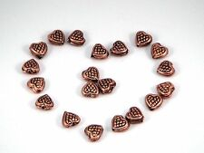 Gorgeous pure copper textured  heart spacer beads . 8 mm. Pack of 15