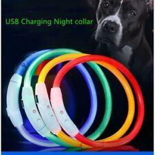 USB Rechargeable LED Dog Pet Collar Flashing Size Adjustable Safety Light Up UK