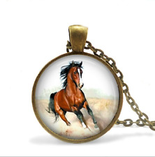 Bronze Mustang Horse Necklace Glass Cabochon Bronze chain Necklace