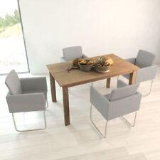 #4pc Light Grey Dining Chair Fabric Ergonomic Arm Seat Foam Padded Armchair